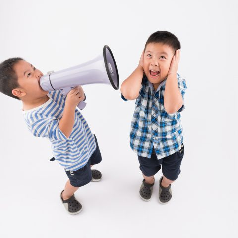 Two children playing with a bullhorn